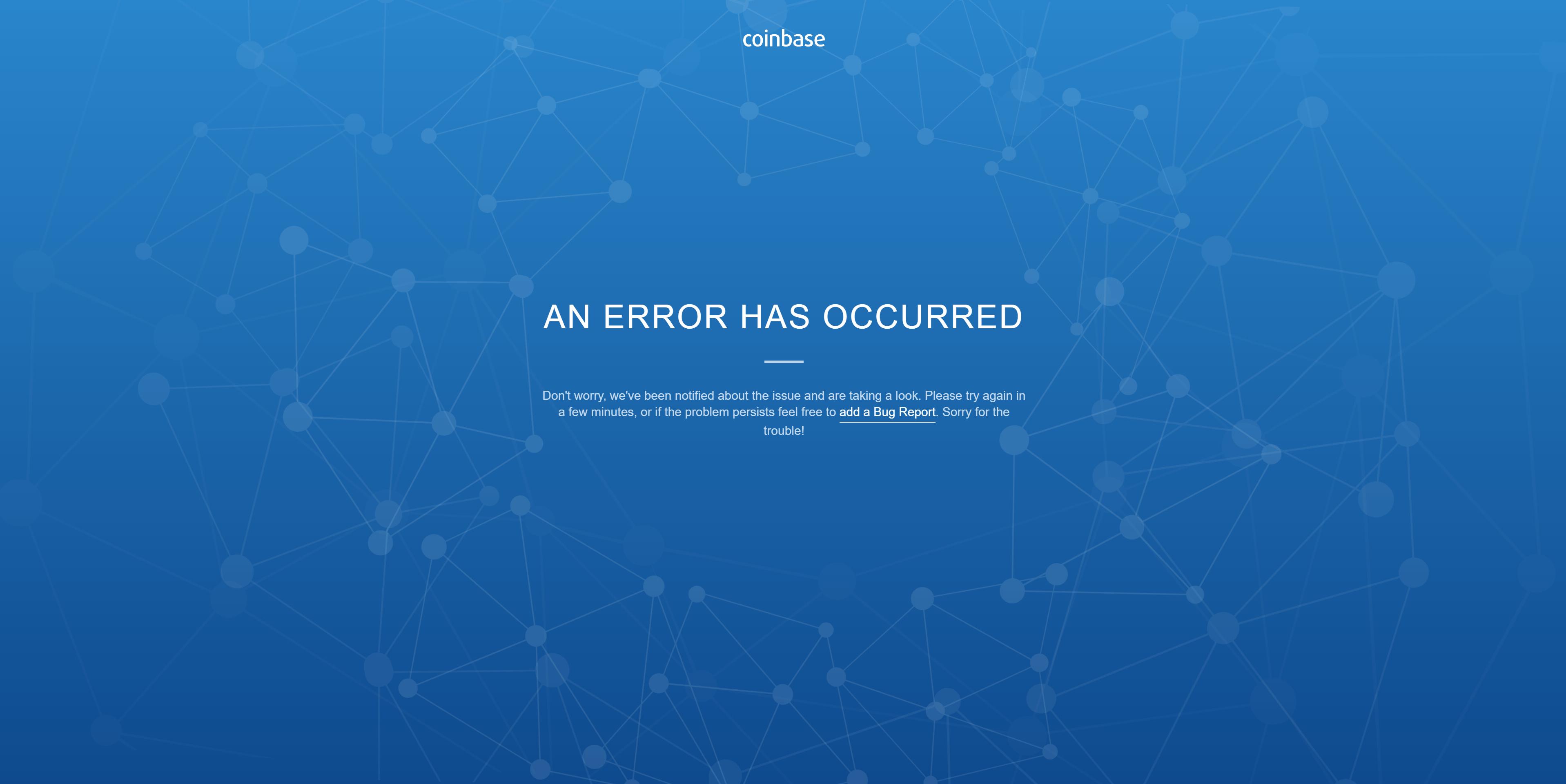 giá bitcoin: Coinbase gặp sự cố ngừng hoạt động khi giá Bitcoin giảm 1800 USD trong 15 phút